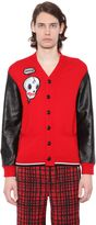Coach Skull Patch Cardigan W/ Leather Sleeves