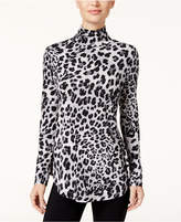 JM Collection Petite Animal-Print Turtleneck Top, Created for Macy's