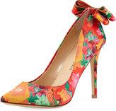 Neiman Marcus Verity Floral Bow Pump, Multi