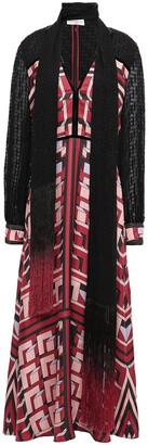Amanda Wakeley Fil Coupe-paneled Velvet And Fringe-trimmed Silk-twill Midi Dress