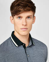 Striped Collar Cotton Polo Shirt