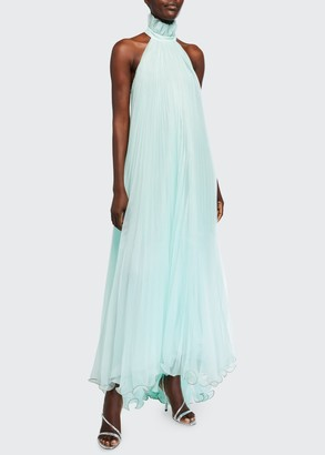 Monique Lhuillier Plisse Ruffled-Halter Gown