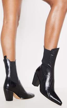 PrettyLittleThing Black Chelsea Western High Ankle Boot