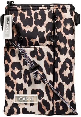 Ganni Leopard Print Cross-Body Bag
