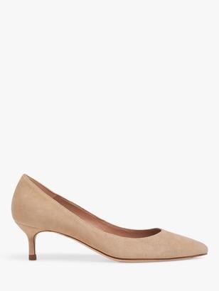 LK Bennett Audrey Leather Kitten Heel Court Shoes, Beige