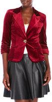 XOXO Ruched Sleeve Velvet Blazer