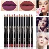 Hittime 12Pcs Long Lasting Lip Liner Pencils Waterproof Smoothly Colored Lipliner Pencil Set