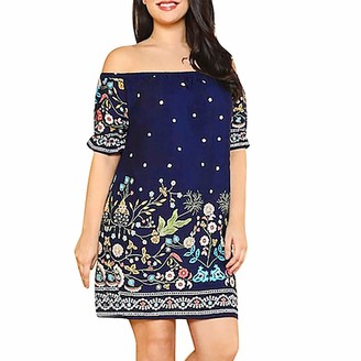 Gofodn Dresses for Women UK Plus Size Evening Party Elegant Sexy Off Shoulder Floral Print Short Sleeve Straight Dress Navy