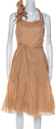 Celine Dusky Orange Silk Blend Ruched Detail Halter Neck Dress L