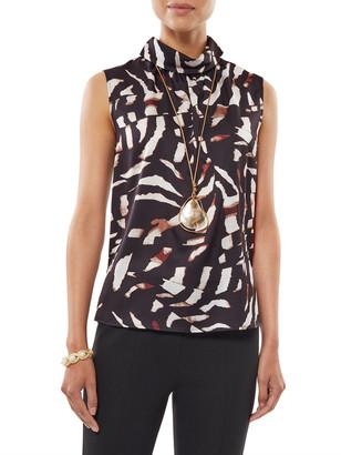 Misook Safari Printed Folded-Neck Sleeveless Blouse