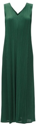 Pleats Please Issey Miyake V-neck Technical-pleated Longline Dress - Dark Green