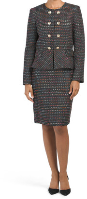 Faux Double Breasted Peplum Jacket And Skirt Set
