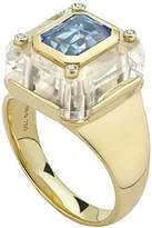 Kara Ross Extra Small Cava Ring with Quartz Base, Blue Topaz Inset and 4 Diamond Accents set in 18k Gold