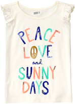 Crazy 8 Jet Ivory 'Peace Love and Sunny Days' Flutter-Sleeve Top - Girls
