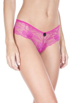 Online Music Legs Cheeky lace panty with satin bow 10015-hpink/blk-m/l