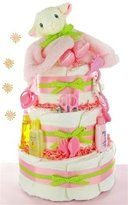 Little Lamb 3 Tier Diaper Cake - Girl by Baby Gift Basket