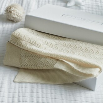 The White Company Cashmere Christening Baby Blanket, Porcelain, One Size