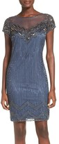 Pisarro Nights Women's Pisarro Beaded Illusion Yoke Mesh Sheath Dress