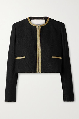 Adam Lippes Cropped Metallic-trimmed Boucle Jacket - Black