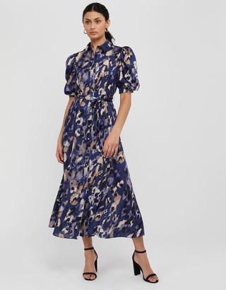 Under Armour Libby Animal Print Satin Shirt Dress Blue