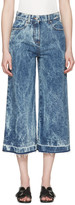 MSGM Blue Marbled Denim Wide-leg Jeans