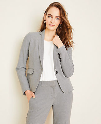 Ann Taylor The One-Button Blazer in Houndstooth