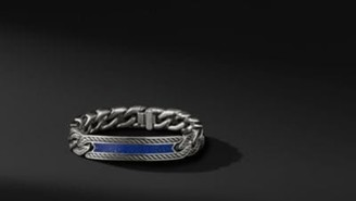 David Yurman Maritime Curb Link Id Bracelet With Lapis Lazuli