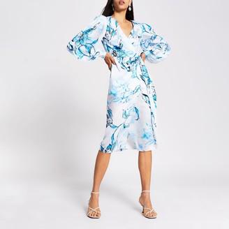 River Island Womens Blue floral long sleeve wrap midi dress