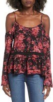 Socialite Women's Floral Print Cold Shoulder Top