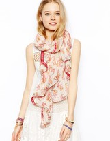 Asos Floral Elephants Print Scarf With Tape Detail