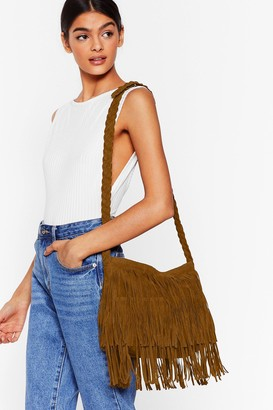 Nasty Gal Womens WANT Crossbody My Mind Fringe Bag - Brown - One Size
