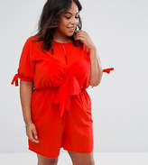 Asos Smock Playsuit With Tie Front