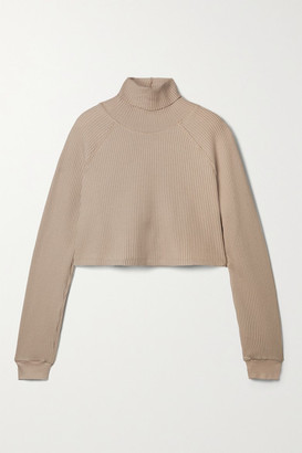 The Range Stark Cropped Waffle-knit Cotton-blend Turtleneck Top - Beige