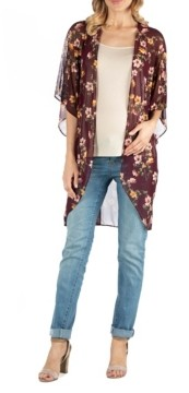 24seven Comfort Apparel Sheer Burgundy Floral Print Long Maternity Open Cardigan
