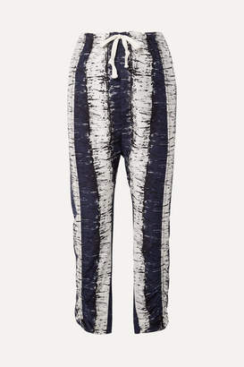By Malene Birger Delma Printed Cotton And Silk-blend Pants - Navy