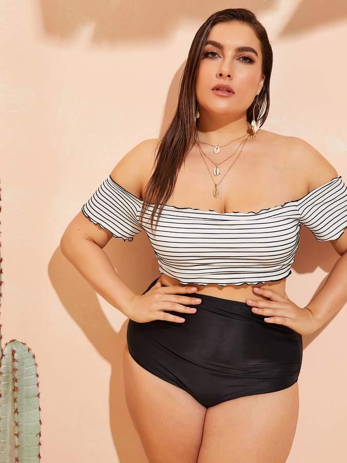 Shein Plus Striped Bardot Top With High Waist Bikini