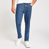 Mens River Island Mid Blue Ronnie relaxed straight jeans