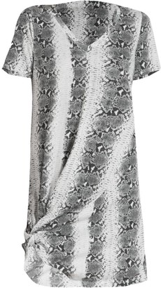 n:philanthropy Leonardo Twist-Hem Snakeskin T-Shirt Dress