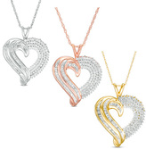 3/4 CT. T.W. Diamond Heart Pendant in 10K White, Rose or Yellow Gold