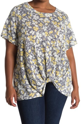 Bobeau Short Sleeve Knotted Top (Plus Size)