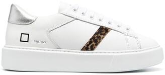 D.A.T.E Sfera leather leopard-stripe sneakers