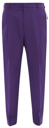 Givenchy Zip-pocket Wool Straight-leg Suit Trousers - Purple