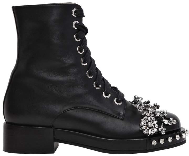 N°21 30mm Swarovski Leather Ankle Boots