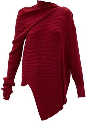 Marques Almeida Asymmetric Draped Ribbed Wool Sweater - Burgundy