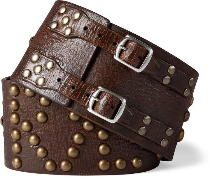Ralph Lauren Studded Leather Wide Belt