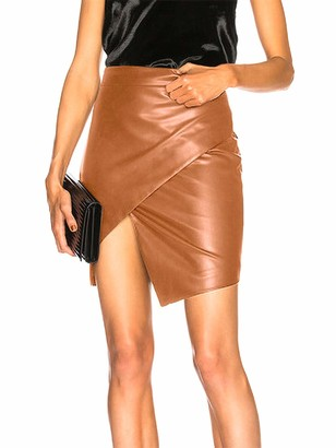 Sexy Dance Womens PU Leather High Waist Midi Skirt Sexy Elastic Waistband Wet Look Pencil Fitted Tube Skirt High Wrap Hip SlimBodycon Party Dress XL Brown