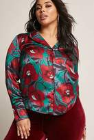 Forever 21 Plus Size Floral Pajama-Inspired Shirt