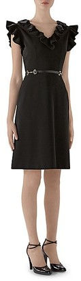 Gucci Stretch Ruffle Buckle Dress