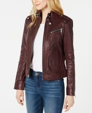 Andrew Marc Front-Zip Leather Moto Jacket