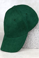 LuLu*s University of Chic Forest Green Suede Baseball Cap